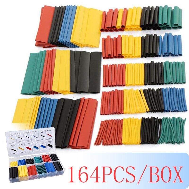 164 pçs/caixa kit de tubo de psiquiatra de calor que encolhe a isolação sortidas de poliolefina sleeving cabo de fio da tubulação do psiquiatra de calor 8 tamanhos 2:1 s