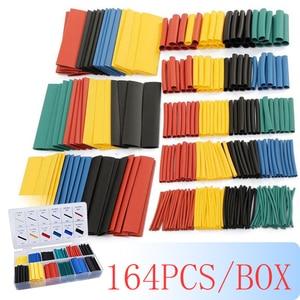 164pcs/box Heat Shrink Tube Kit Shrinking Assorted Polyolefin Insulation Sleeving Heat Shrink Tubing Wire Cable 8 Sizes 2:1 s(China)