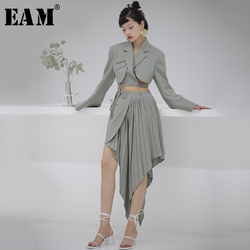 [EAM] High Waist Green Asymmetrical  Pleated Temperament Half-body Skirt Women Fashion Tide New Spring Autumn 2020 1S715
