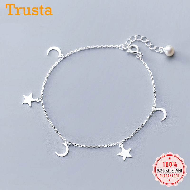 Trustdavis Silver 925 Jewelry Ankle Bracelets For Women Moon Star Charm Link Chain Anklets Foot Jewelry Pearl Cute Anklets DA979