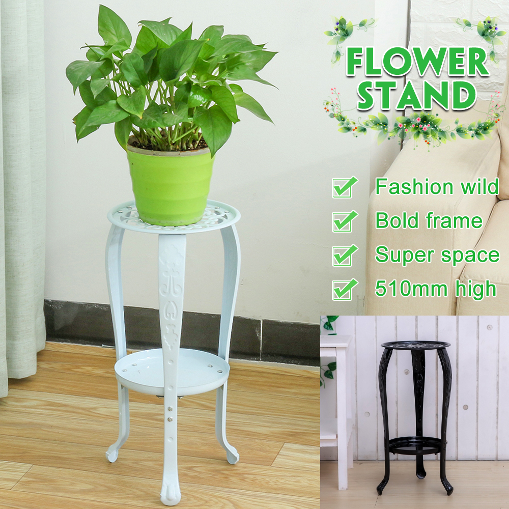 Indoor 2-layer White Metal Iron Flower Stand Tray Flower Shelf Rack For Living Room Coffee Bar Garden Flower Pot Shelf