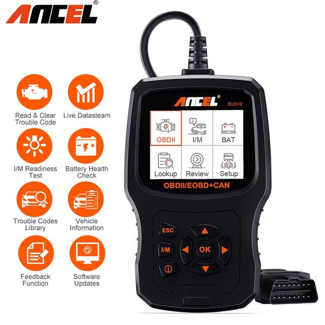 Ancel EU510 OBD2 escáner lector de código de motor Auto control de batería scaner automotriz ODB OBD 2 escáner automotriz herramienta de diagnóstico de coche PK ELM327 v1.5