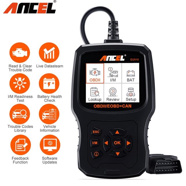 Ancel EU510 OBD2 スキャナコードリーダー自動バッテリーテスター自動診断 obd 2 自動車スキャナー車診断ツール pk ELM327