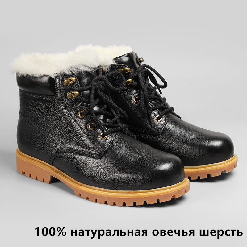 Natural Wool Boots Winte Size 36~48 Warmest Natural Leather Handmade Shoes Men Winter #CX5086YM