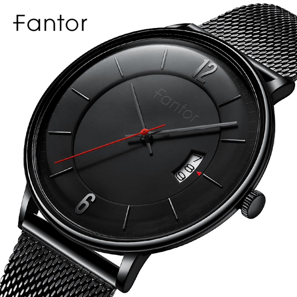 Men Watches Fantor Top Brand Luxury Date Quartz Wristwatch Mens Business Casual Mesh Band fashion Waterproof Male Dress Clock