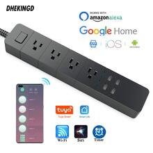 Wifi inteligente tira de energia eua tomadas plug funciona com alexa google casa multi plug 4 ac 4 portas de carregamento usb, controle de voz