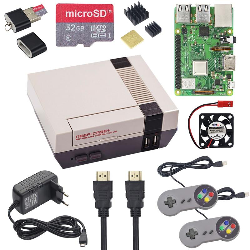 NESPi CASE+ Raspberry Pi 3 Model B+ Kits + 32GB SD Card + 3A Power Adapter + Heat Sink + 2 Gamepad Controller For Retropie