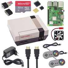 NESPi מקרה + פטל Pi 3 דגם B + ערכות + 32 64GB SD כרטיס + 3A כוח מתאם + גוף קירור + 2 Gamepad בקר עבור Retropie