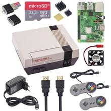 NESPi kılıf + ahududu Pi 3 Model B + kitleri + 32 64GB SD kart + 3A güç adaptörü + isı emici + 2 Gamepad denetleyici Retropie