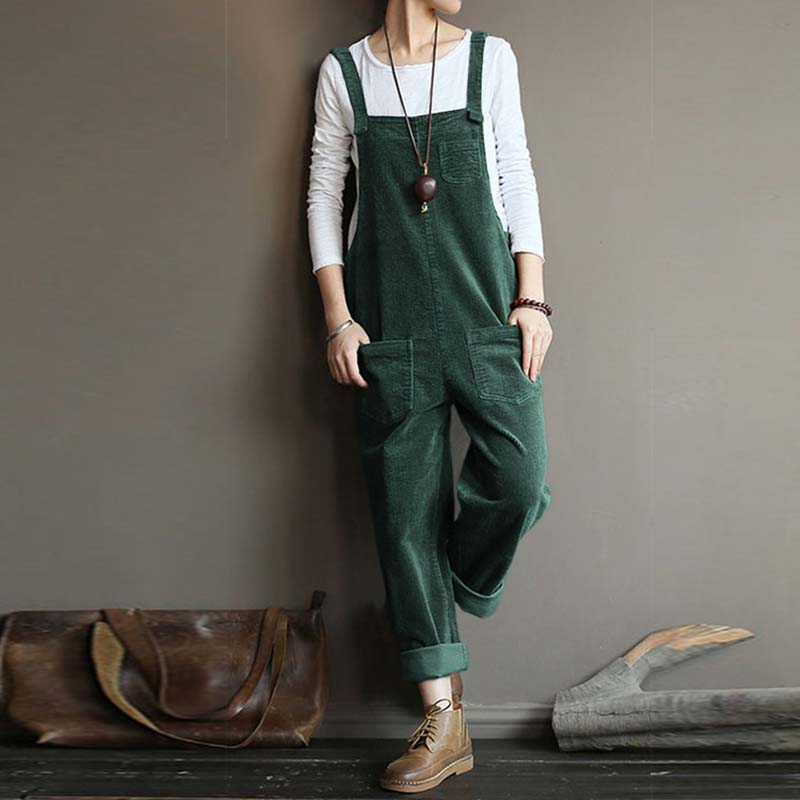 ZANZEA Vintage Corduroy Jumpsuits Women Jumpsuits Casual Straps Overalls Loose Harem Pants Rompers Female Dungarees Playsuits