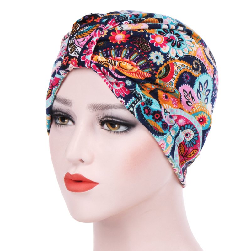 Muslim Headdress Turban Bonnet For Woman Cotton Print Inner Hijab Caps Arab Wrap Hijab Femme Musulman Islamic Headscarf Hat
