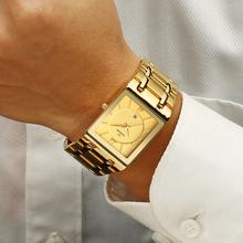 Relogio Masculino WWOOR złoty zegarek mężczyźni kwadratowe męskie zegarki Top marka luksusowy złoty zegarek kwarcowy ze stali nierdzewnej wodoodporny zegarek na rękę tanie tanio 22cm Luxury ru QUARTZ Rohs 5Bar Zapięcie bransolety CN (pochodzenie) STAINLESS STEEL 10mm Hardlex Kwarcowe zegarki Papier