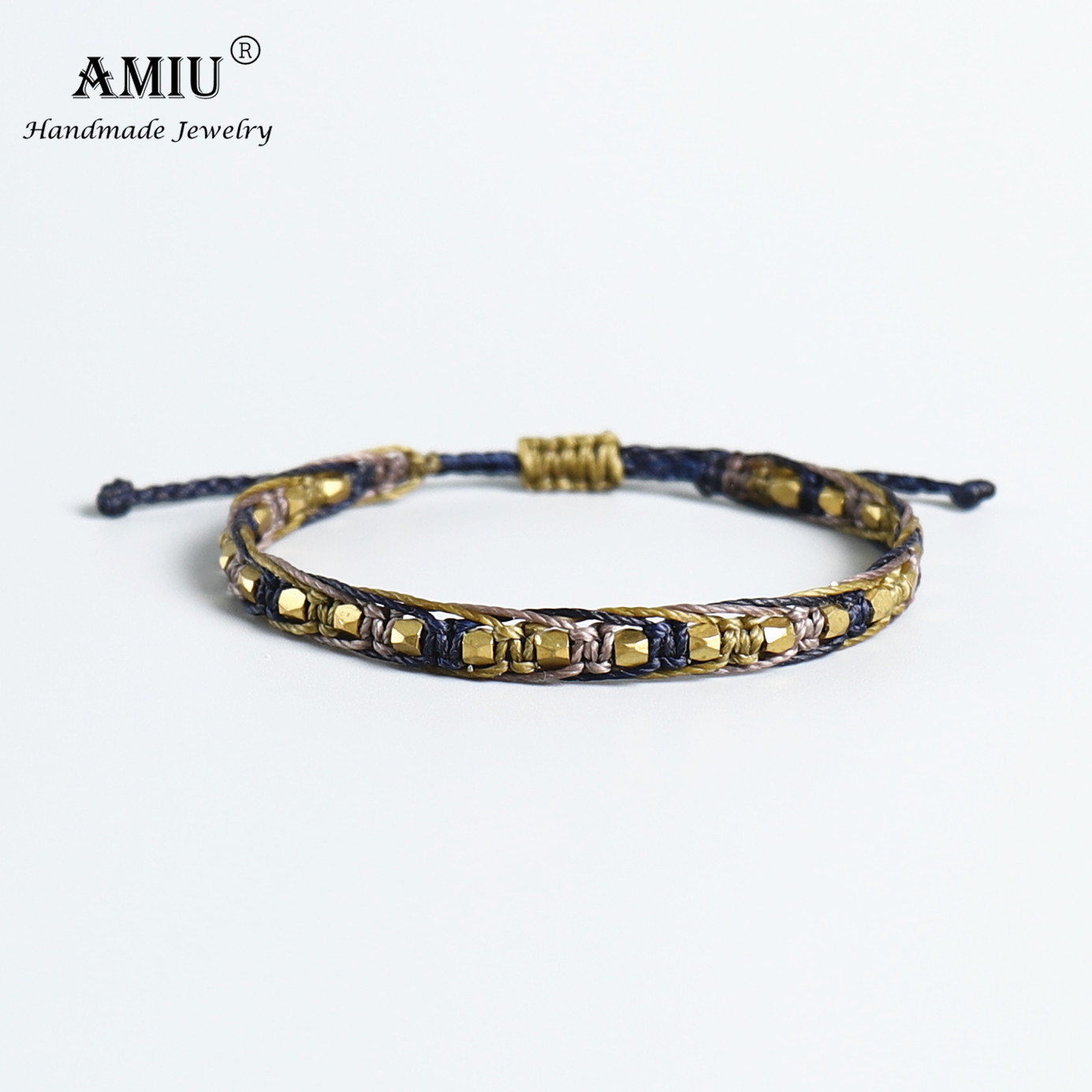 AMIU Handmade Macrame Copper Bead Waterproof Wax Thread Lucky Rope Bracelet & Bangles For Women Men Friendship Woven Bracelets