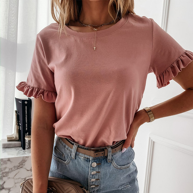 100% Cotton Women Printed Short Sleeve Round Neck Shirt Top Holiday Beach Summer Tops Cute Square Elegant Solid Slim Shirts 5