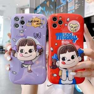Япония конфеты молочный девочка Peko Складная подставка фиолетовый чехол для телефона iPhone X XS MAX XR 7 8 Plus 11 Pro Max задняя крышка Держатель