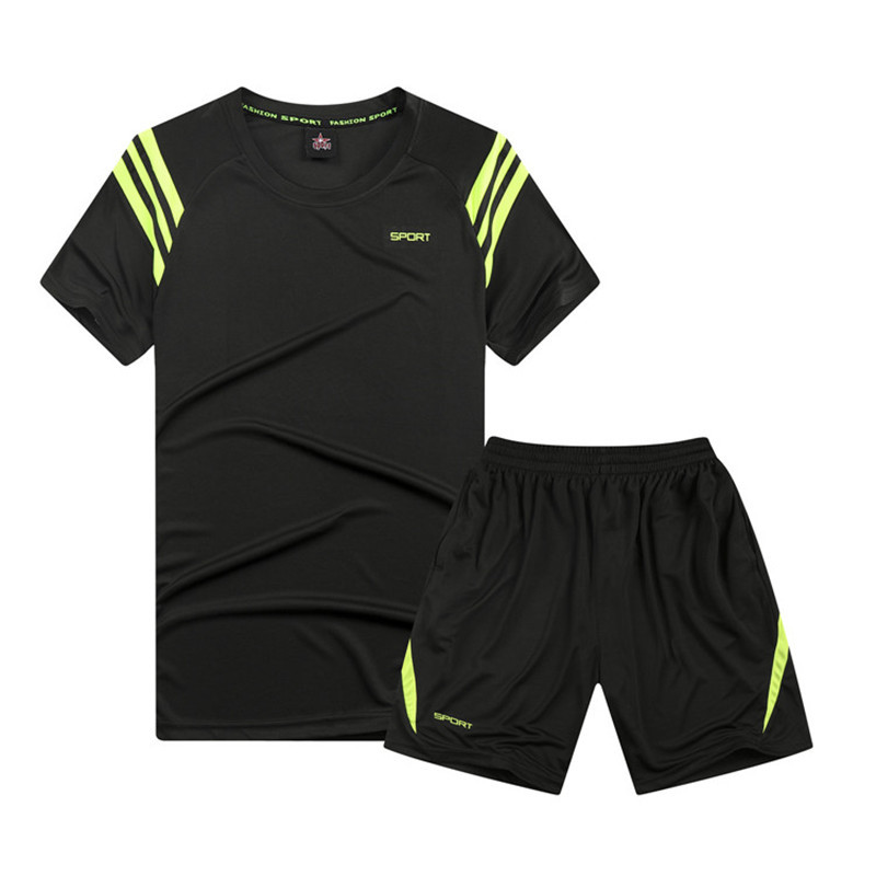 For Summer MEN'S T-shirts Quick-Dry Short Sleeve Shorts Set Casual Running Sports Loose-Fit Two-Piece Set