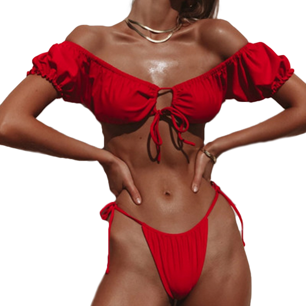 Women Push-up Padded Bra Bandage Short Sleeve Bikini Set Swimsuit Thong Swimwear Bathing Suit