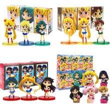 3 pçs/set Q Posket Figuras Sailor Moon Mizuno Ami Mercury Urano Venus Minako Aino Mars Hino Rei Anime Brinquedos Modelo