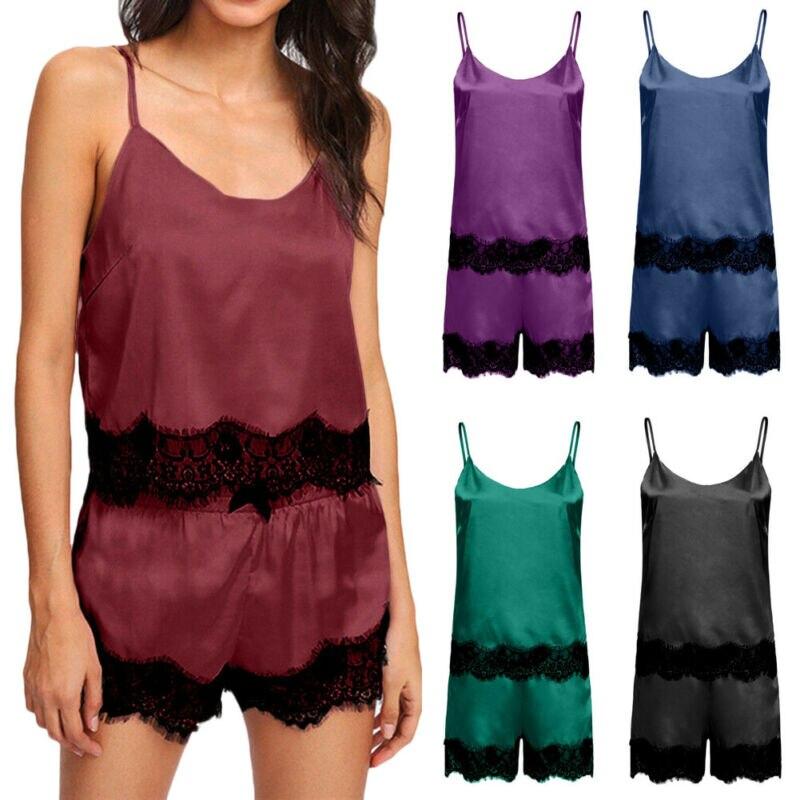 Women Lace Satin Silk Lingerie Tops Shorts Set Ladies Causal Sleepwear Nightwear