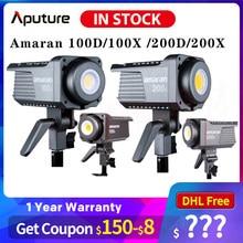Aputure amaran 100d 200d 100x200x5600k led luz de vídeo cri95 + tlci96 + bluetooth app controle 8 efeitos de iluminação dc/ac fonte de alimentação