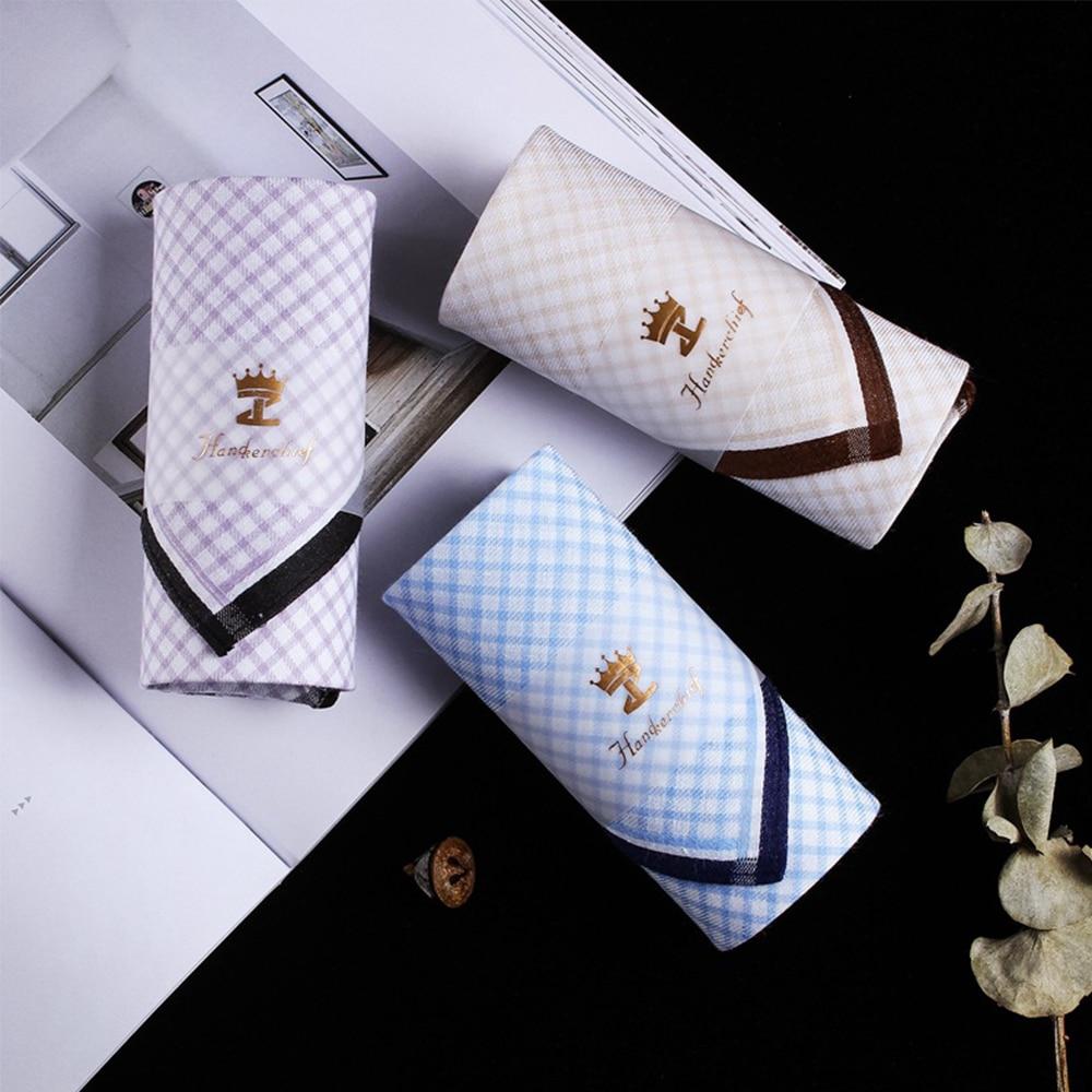 New Multicolor Square Stripe 100% Cotton Handkerchiefs 43*43cm Men Classic Pattern Vintage Pocket Hanky Plaid High Quality
