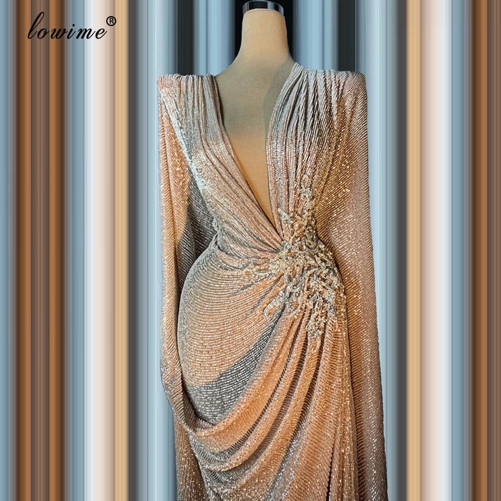 Dubai Muslim Gray Sequins Evening Dresses Long Mermaid Formal Evening Gowns Robe Sexy Prom Dress Party Middle East Vestidos