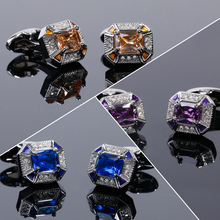 French Shirt Cufflinks Men's Luxury Jewelry Gift Wedding Business Banquet Accessories High-end Purple Blue Rhinestone Cuff Links classic crystal spider cufflinks for men high quality male french shirt cuff links for men s jewelry birthday wedding gift