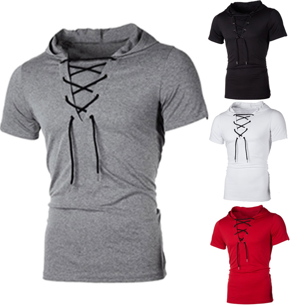 H9ee9f626d33145e4baf1c3b93d66fb3d0 New Men Hoodies Short Sleeve Slim Solid Hip-hop Fitness Workout Gym Hooded Tee Muscle Sweatshirts arrival Summer Casual Top Hot