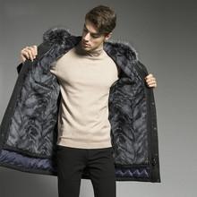 Winter Goose Down Jacket Men Real Fur Coat Natural Rabbit Fur Liner Fox Fur Collar Long Warm Coats Parkas 2019 18P9134-2 cheap ZVAQS REGULAR Casual zipper Full Pockets Thick (Winter) Broadcloth Polyester White goose down Liner Detachable 100g-150g