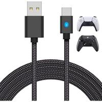 3M 2 In 1 Typ C Griff Ladekabel Für PS5 Gamepad NS Schalter PRO Wireless Controller USB C daten Kabel Mit Led-anzeige