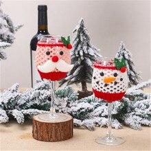 1 PC Wine-Bottle-Cover Christmas Table Decorations Woolen Wine Glass Set Bottle Santa Snowman