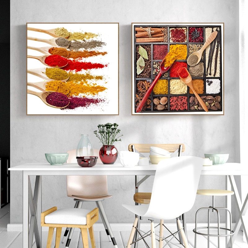 INDIAN SPICE CHILLI PEPPER Canvas Framed Print Restaurant Deco ~ 4 Panels