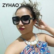ZYHAO Oversize Square Sunglasses Women Fashion Flat Top Gradient Glasses Men