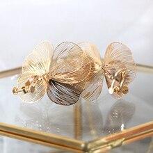 Pendientes de mariposa dorada hechos a mano de perla flor Boda nupcial Clip pendientes Vintage joyería para los accesorios de la novia