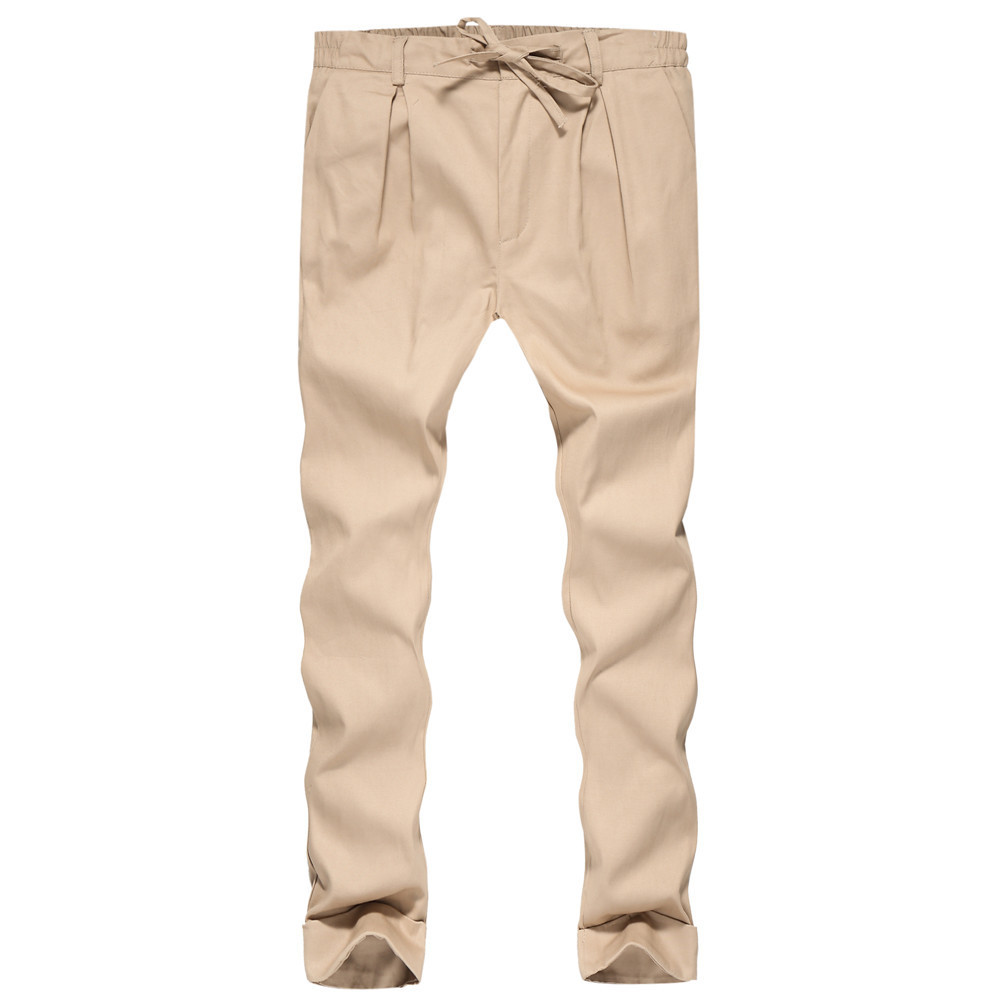 MEN'S Casual Pants Men's-Men Solid Color With Drawstring Solid Color Casual Long Pants