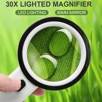Hand Held Lupa Lupa Vidro 30X12 Luzes LED Educação Arqueologia Prática de Leitura Biológica de Desktop|  -