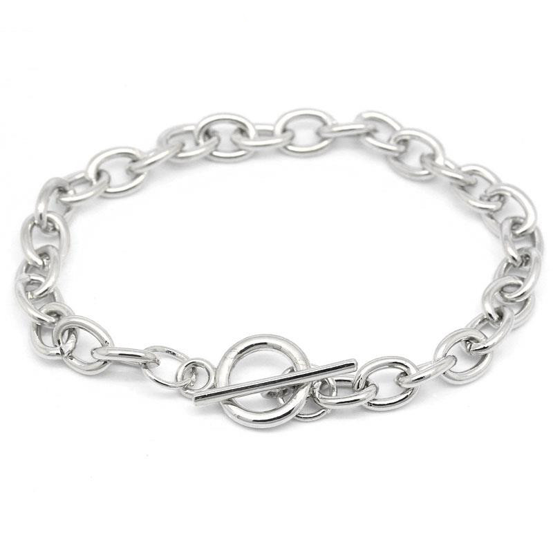 DoreenBeads Fashion Alloy Toggle Clasp Bracelets Silver Color DIY Jewelry Findings For Women Men Gifts 20cm(7 7/8″) long, 1Piece