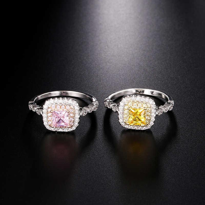 Bohemian แฟชั่นผู้หญิงรูปสี่เหลี่ยมผืนผ้าแหวนทอง/เงิน CZ หิน Punk แหวน Bague Femme Anelli Donna