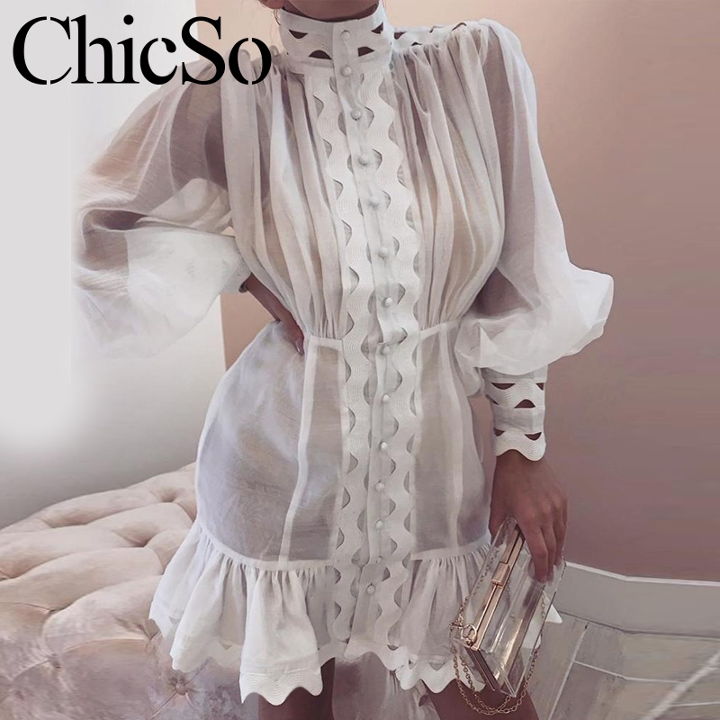 MissyChilli Ruffle Long Lantern Sleeve Hem Dress Women Elegant Transparent Ladies White Dress Winter Partysexy Short Shirt Dress