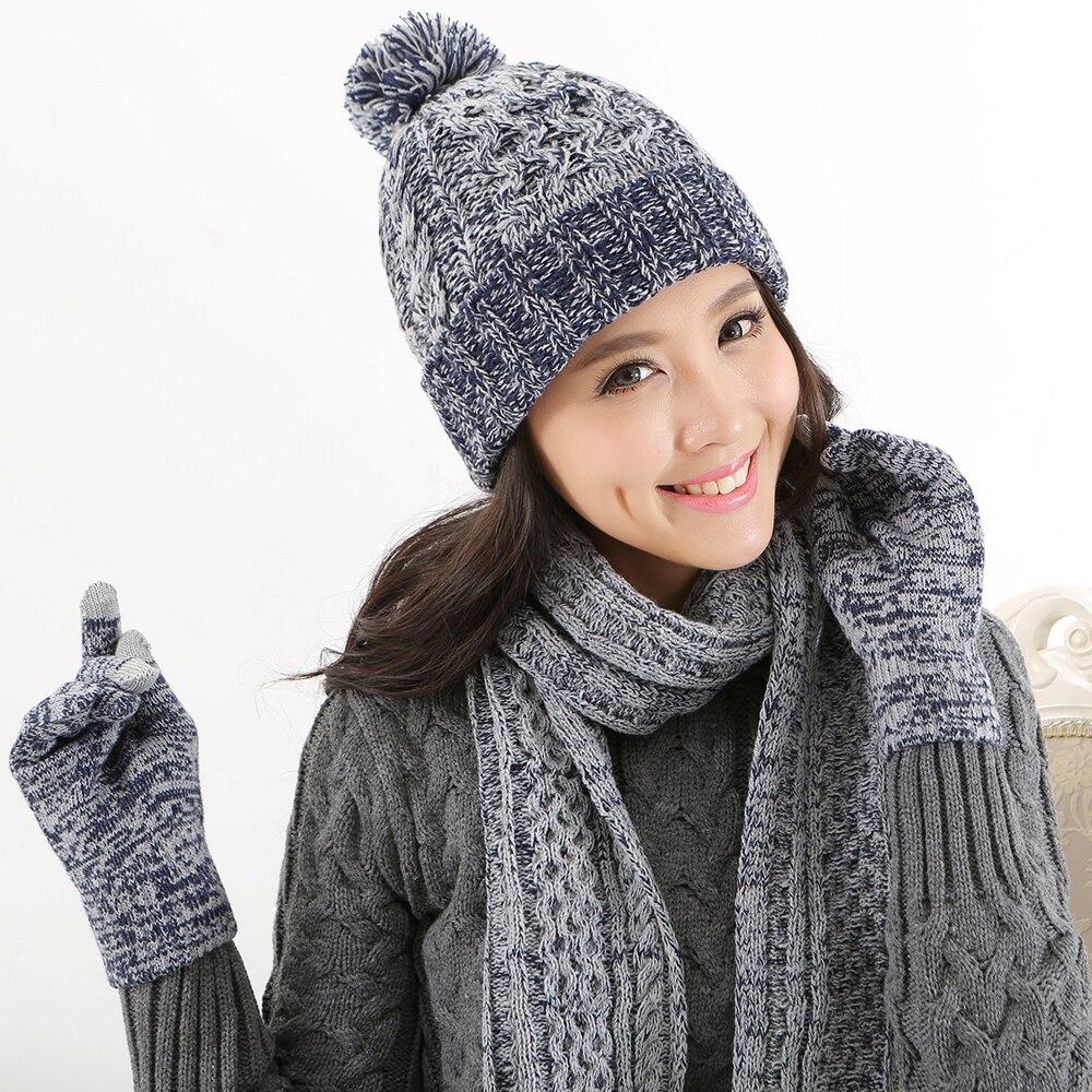 2019 Winter Hats For Women Knit Hat Scarf Gloves Set Three-piece Suit Womens Beanie Wool Cap Women's Hats Winter Hat Polyester