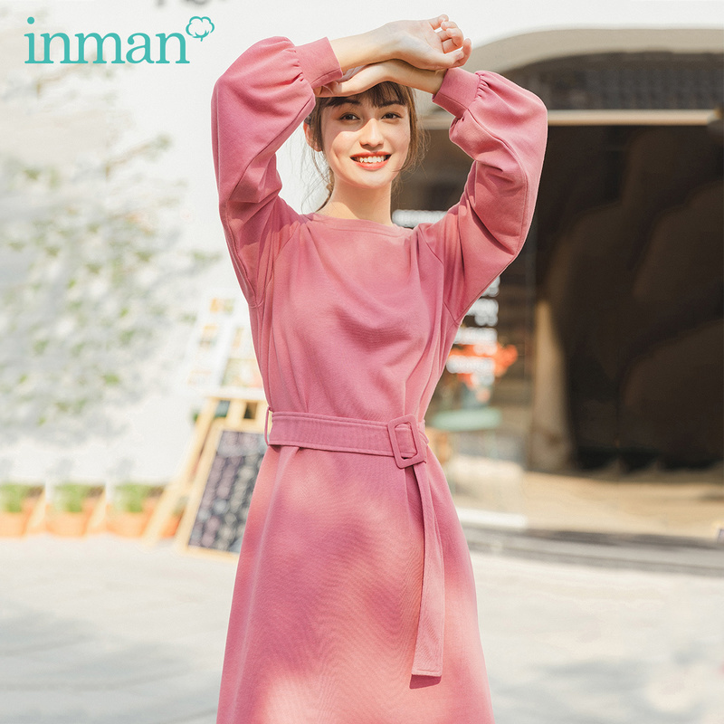INMAN 2020 Spring New Arrival Literary Fashion Crewneck Pure Color Slimming Long Sleeve Dress With Belt