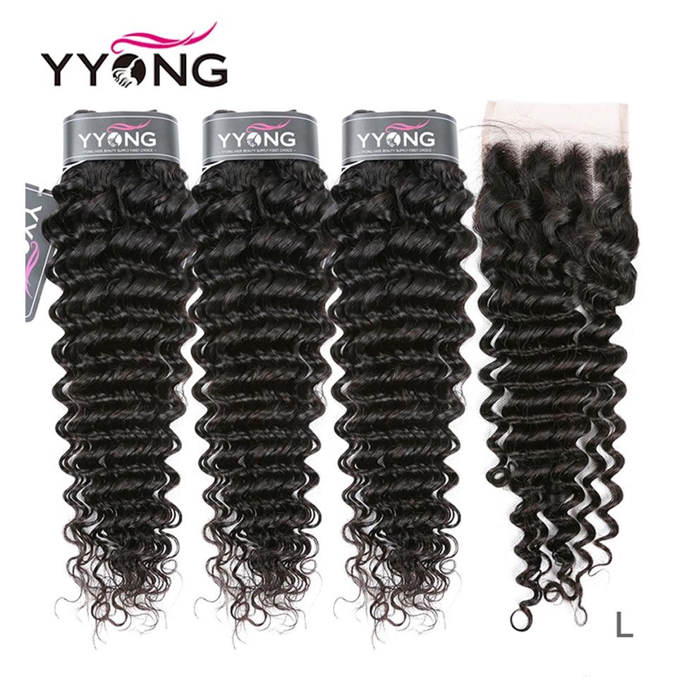 Yyong Hair Deep Wave 3 Bundles With Lace Closure  Bundles Medium Ratio   With Closure 4x4 inch 1