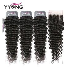 Yyong Hair 딥 웨이브 3 묶음 레이스 클로저로 인간의 머리카락 묶음 중간 비율 페루 레미 휴먼 헤어 클로저 4x4 인치