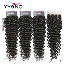 Yyong Hair Deep Wave 3 Bundles With Lace Closure Human Hair Bundles Medium Ratio Peruvian Remy Human Hair With Closure 4x4 inch