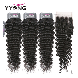 Yyong Hair Deep Wave 3 Bundles With Lace Closure Human Hair Bundles Medium Ratio Peruvian Remy Human Hair With Closure 4x4 inch