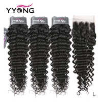 Yyong Hair Deep Wave 3 mechones con cierre de encaje extensiones de cabello humano proporción media pelo humano Remy peruano con cierre 4x4 pulgadas