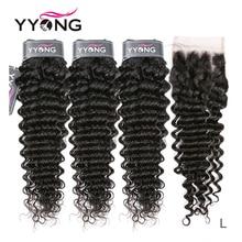 Yyong onda profunda do cabelo 3 pacotes com fechamento do laço pacotes de cabelo humano médio relação remy peruano cabelo humano com fechamento 4x4 polegada