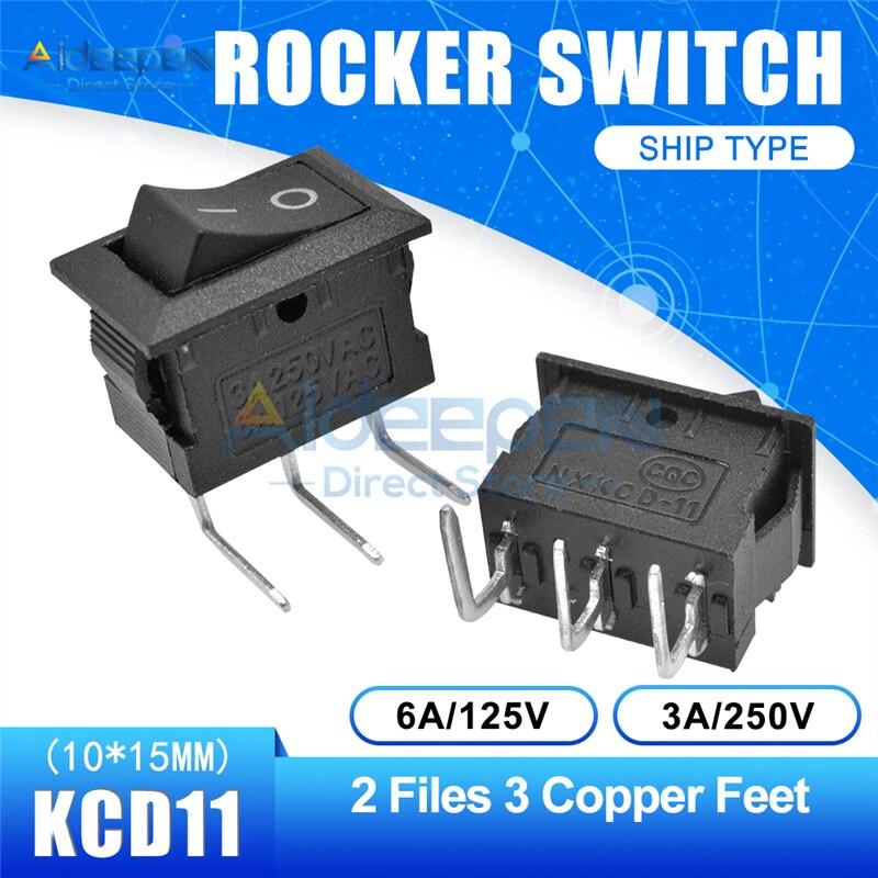 KCD11 10x15 мм кнопочный переключатель оснастка ВКЛ-ВЫКЛ 2 файла 3 файла 2/3 медные ножки лодка кулисный переключатель 10 мм* 15 мм 6A/125 В 3A/250 В - Цвет: Black 2-3P Curved