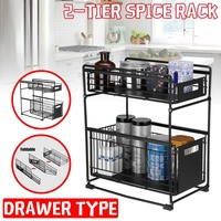 2 layer Storage Rack Organizer Condiment Bottle Rack Rust proof and Durable Storage Rack Home Kitchen Storage & Organization