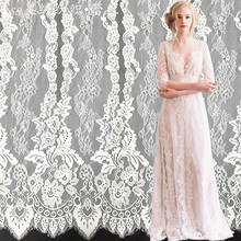 3meters/lot 150cm wide French Eyelash Lace Fabric White Black Diy Exquisite Lace Embroidery Clothes Wedding Dress Accessories 110cm wide wedding dress lace embroidery diy women clothes materials clothing fabric accessories ivory white church happy hour